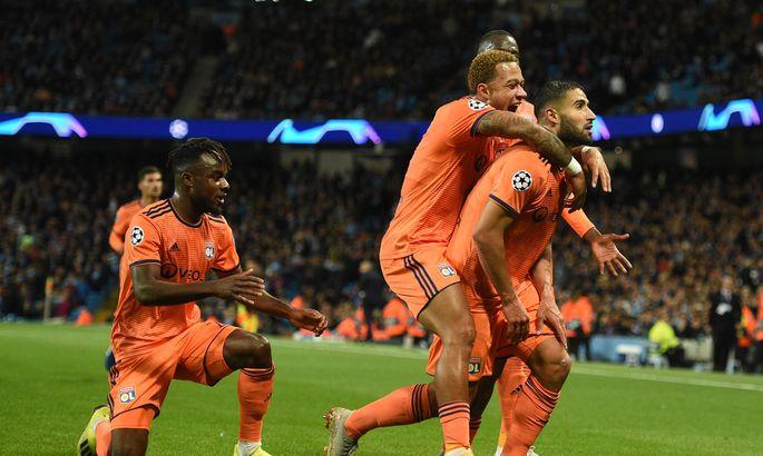 13b808499cc Võõrsil Manchester Cityt üllatanud Lyoni mängijad juubeldavad värava üle.