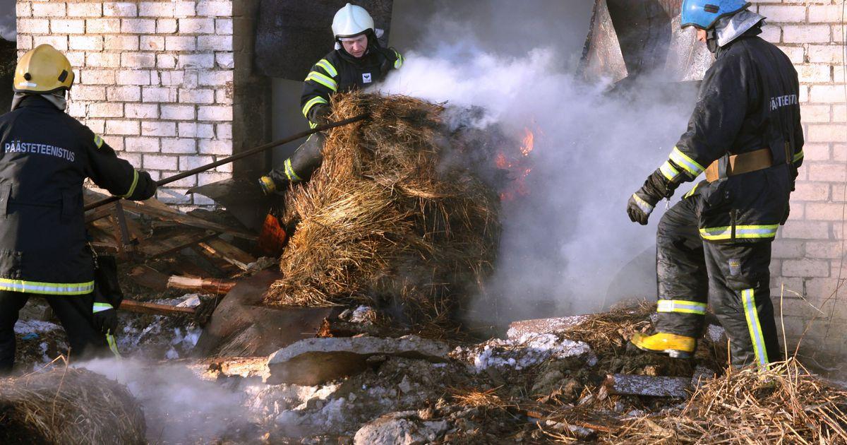 Antsla vallas süütas äike heinapallid, Valgas põles garaažis praht