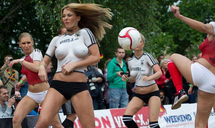 Topless soccer match pics get